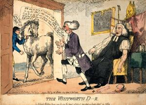 view A surgeon letting blood from Thomas Thurlow, Bishop of Durham, but leaving his patient in order to attend to a sick horse. Coloured etching by H.W., 1791.