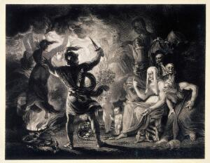 view Witchcraft: Macbeth seeing the three witches, with other horrifying visions. Etching after J. Reynolds, ca. 1786-1790, after W. Shakespeare.