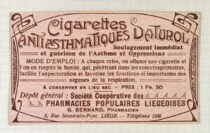 view Cigarettes Antiasthmatiques Daturol: product label. Colour lithograph.