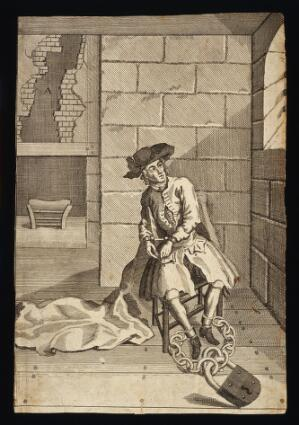 view Jack Sheppard in prison. Etching, ca. 1724.