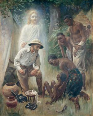 view A medical missionary attending to a sick African. Oil painting by Harold Copping, 1930