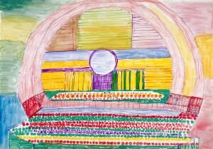 view A concert hall. Watercolour and crayons by Tomasz Sitkowski, 1976.