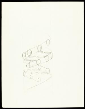 view Pencil sketch of the DNA double helix by Francis Crick. It shows a right-handed helix and the nucleotides of the two anti-parallel strands.