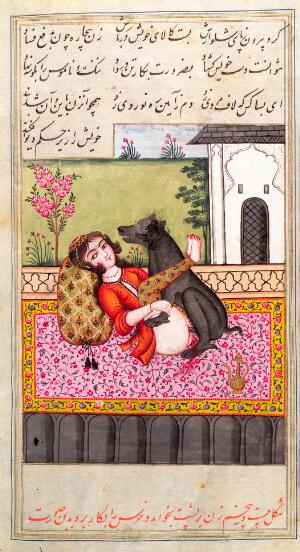 view Persian woman with an animal