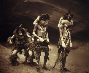 view A 'Yebichai Sweat' Navajo medicine ceremony: three Navajos in ceremonial dress with faces masked
