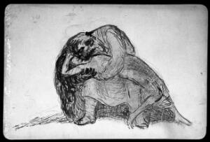 view A monstrous man clutching a fainted woman. Drawing by F. Wrampe, 193-.