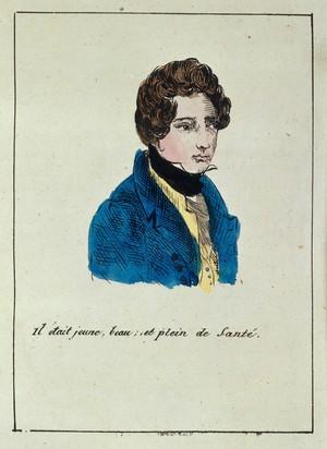 view Hand-coloured engraving: il etait jeune...