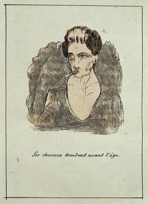 view Hand-coloured engraving: il se debat contre la morte.