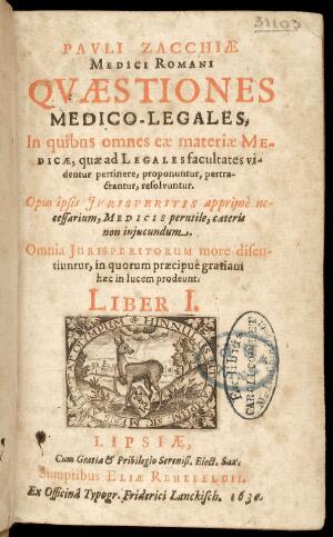 view Title Page of Zacchia's Quaestiones medico-legales