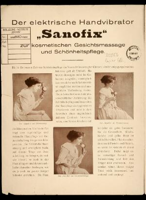 """view Advertisment for """"Sanofix"""" electric hand vibrator."""