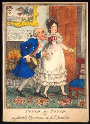 view A prostitute leading an old man into the bedroom and taking money from him; implying that her services will act like a tonic and preserve his state of health. Coloured etching, 18--, after T. Rowlandson, 1811.