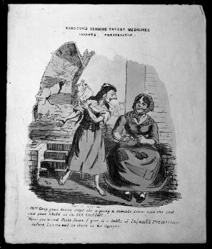 """view A mother who believes that an """"Infants preservative"""" (medicine for infants) will preserve her child from danger in a collapsing house. Coloured lithograph, 183-."""