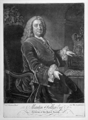 view Martin Folkes. Mezzotint by J. MacArdell, 174- (?) after T. Hudson.