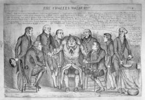 view John Bull being examined by eight doctors representing politicians, who diagnose his illness as cholera. Lithograph, ca. 1832.