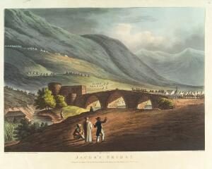 view Jacob's Bridge, between the lakes of Tiberia, with the tents of the British Army pitched on the mountain side and the tents of the and the Aga of the Janisaries, c. October 1799, during the Defence of the Ottoman Empire against General Bonaparte
