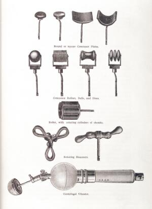 view Illustration showing various instruments used in vibratory massage. Round or square Concussor Plates, Concussor Rollers, Balls and Discs, Roller with rotating cylinders and ebonite, Rotating hammers and Centrifugal Vibrator