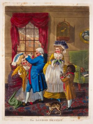 view A London dentist extracting a tooth from a woman's mouth; her female companion and the dentist's black servant-boy (slave) are present. Coloured mezzotint after Robert Dighton, ca. 1784.