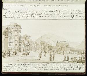 view Street scene in Rouen, France, 21st July, 1817, taken by camera lucida on the second day of Lister's visit