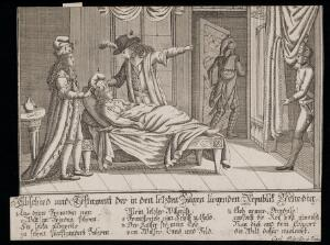 view A patient on his deathbed, representing the death of the Venetian Republic. Etching, ca. 1797.