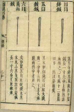 view The nine ancient acupuncture needles, 17th Chinese (detail)