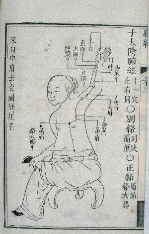 view Lung channel of hand taiyin, Chinese woodcut, 1817