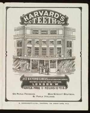 view Harvard's Teeth, 272 Oxford Circus, London. Advertisment. Front cover.