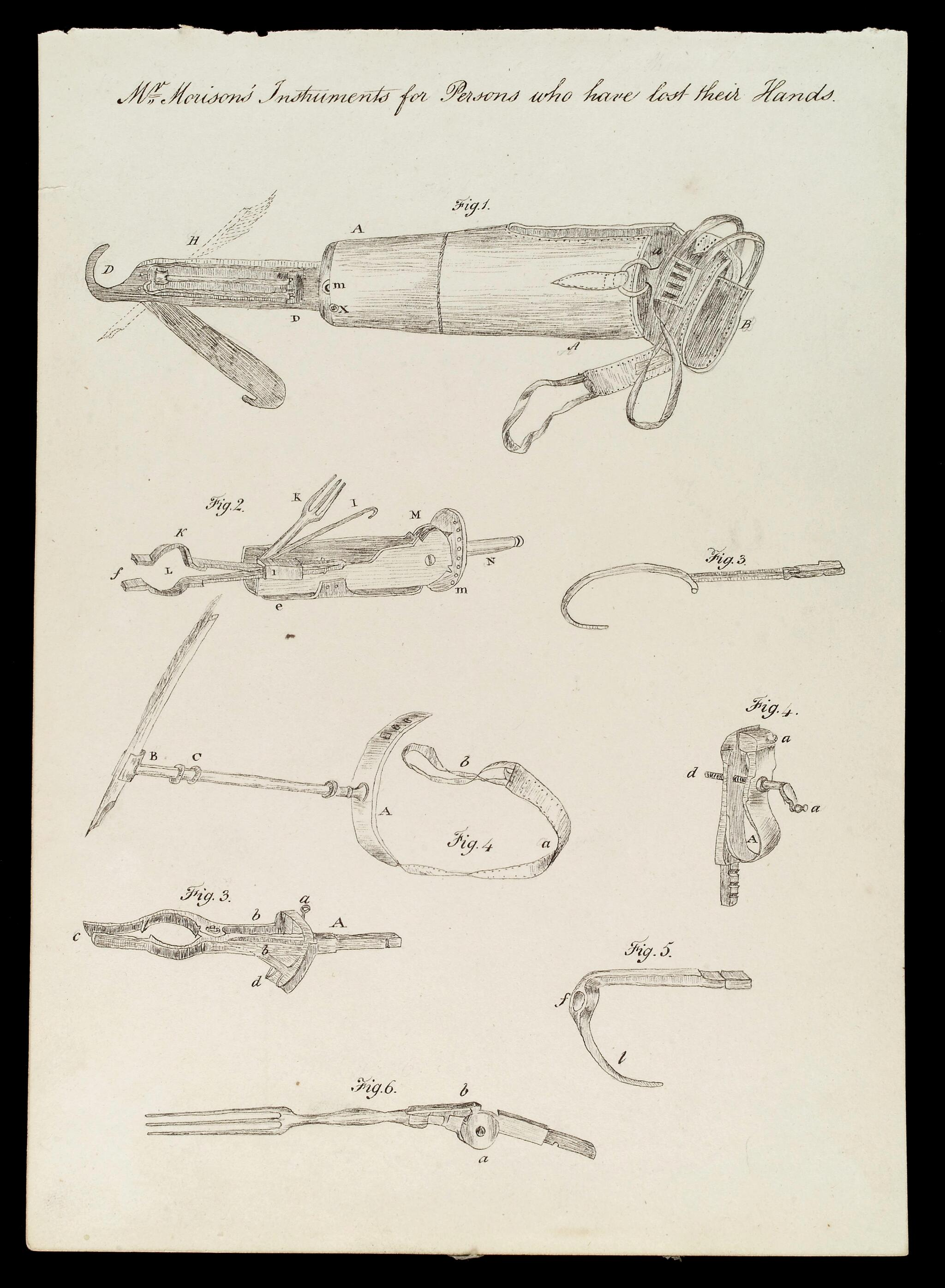 a pen and ink drawing of prosthetic arms and hands that are hooks