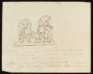 view A hypochondriac patient consulting a cynical physician: the patient is healthy, but the physician will provide a treatment that will produce some symptoms of ill-health. Pen drawing, 183-(?).