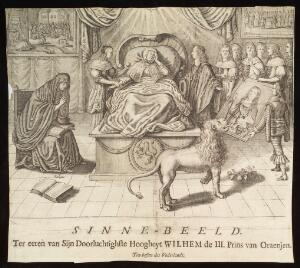 view A woman lies in bed, lovesick (representing the Netherlands); attendants try to raise her spirits by showing her a portrait of the newly appointed Stadholder, William III Prince of Orange (subsequently William III King of England). Engraving, ca. 1672.
