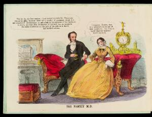 view A physician trying to take advantage of a young woman patient by visiting her at home while her husband is out. Coloured lithograph, 1852.