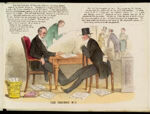 view A doctor who writes books of sexual advice talking to his cynical publisher. Coloured lithograph, 1852.