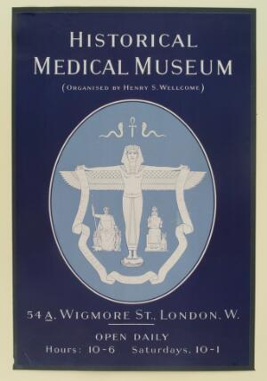 view Ancient Egyptian, Greek and Mesopotamian deities advertising Henry S. Wellcome's Historical Medical Museum. Lithograph, 1913.