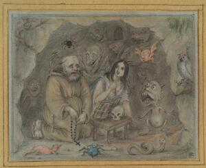 view The temptation of St Antony. Pastel drawing by W.S.