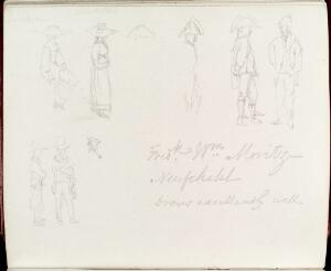 view Sketches of people and costumes from Listers notebook on his