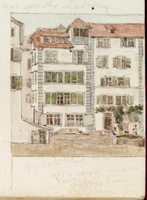 view Watercolour of a house in Zurich, Switzerland by Lister