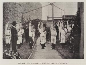 view Sandow instructing a boy's institute, Adelaide