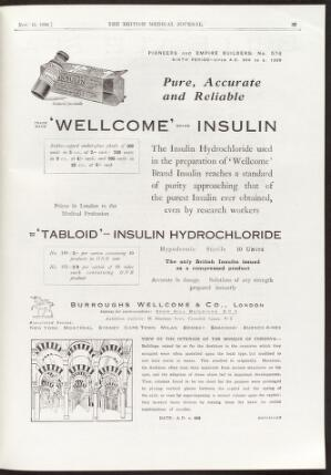 view Advertisement for insulin, Burroughs Wellcome, 1930