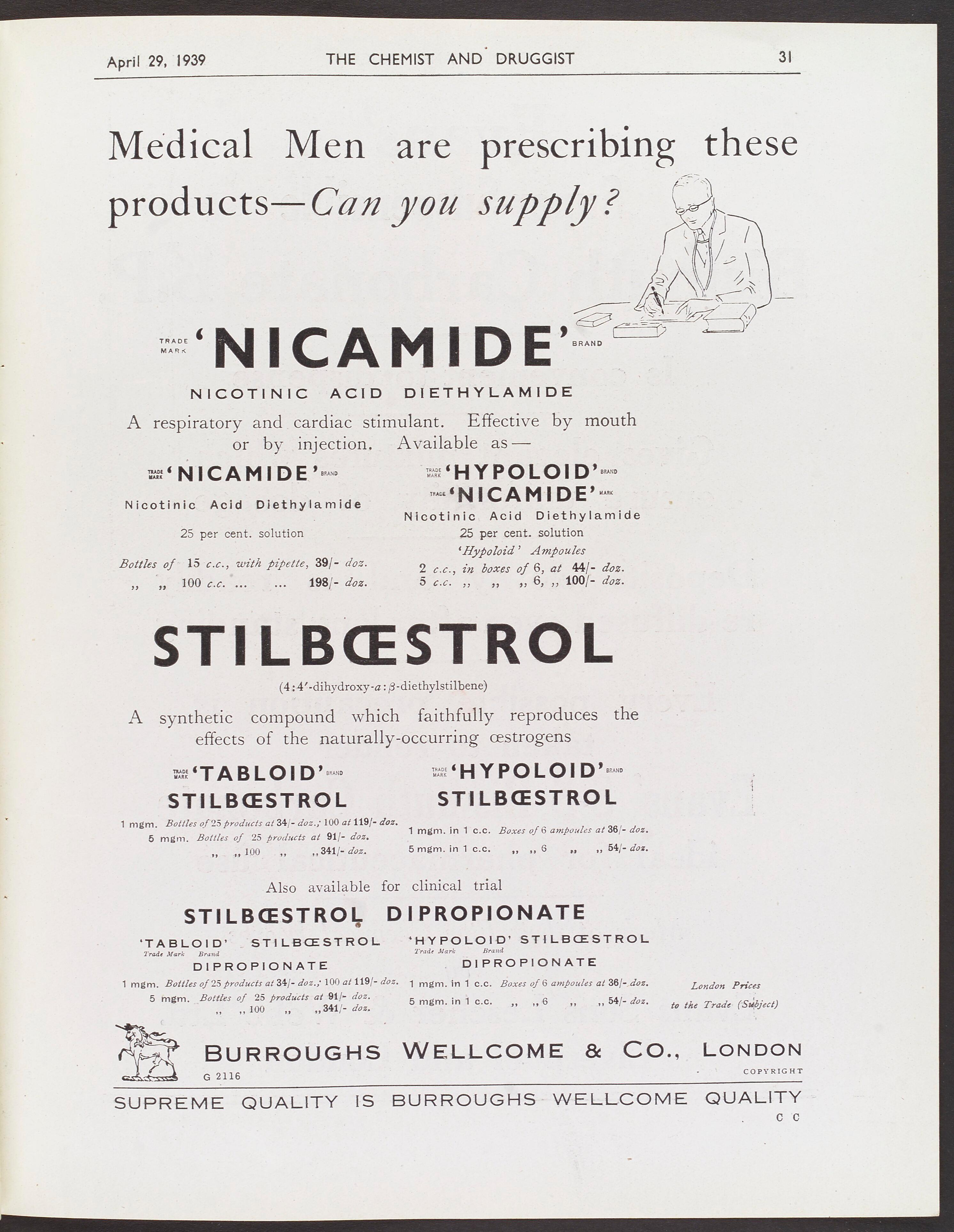 Adverts, nicamide & stilboestrol, Burroughs Wellcome, 1939