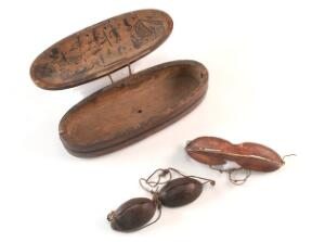view Inuit snow goggles and wooden case