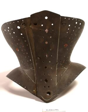 view A brass corset used to minimise the waist or as an orthopedic device to support the back or correct a spinal deformity. Probably English