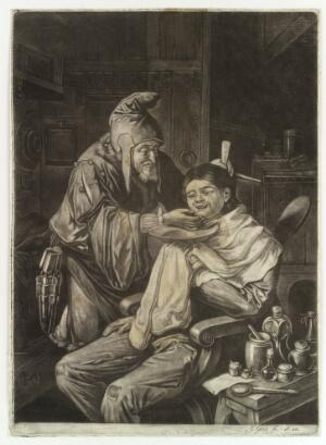 view A wizened old barber who wears a pointed hat is shaving a young man. Mezzotint by J. Gole after C. Dusart, 1704/1737.