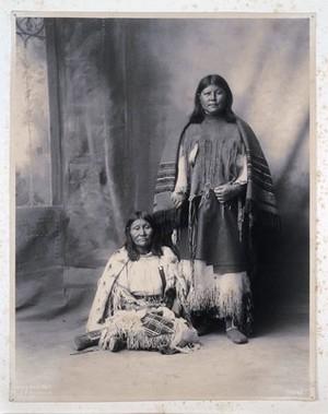 view Two members of the Kiowa tribe. Platinum print by F.A. Rinehart, 1898.