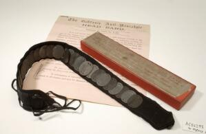 view Galvanic anti-neuralgic headband made up of a series of 24 alternate zinc and copper discs mounted onto a felt and ribbon band. The headband was tied around the head, with the discs resting on the temples, where perspiration would act on the discs by producing a mild galvanic current