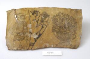 view A selection of tattoos on a piece of human skin showing a nude female, a pot of flowers and a gentlemen