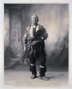 view John Maskwas, an American of the Potawatomi. Platinum print by F.A. Rinehart, 1898.