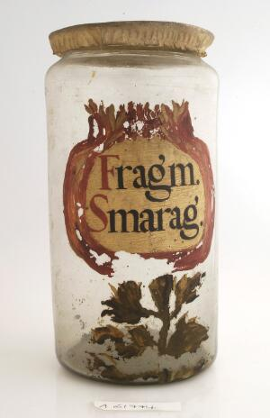 view Apothecary jar used fro emerald fragments