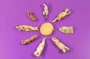view Diagnostic Dolls, used by women patients to indicate areas of affliction to their doctors. Clockwise from top: Ivory, Japanese. Ivory, Chinese. White jade, Chinese. Ivory, Japanese. Ivory, Chinese. Ivory, Japanese. Ivory, Chinese. Ivory, Japanese.