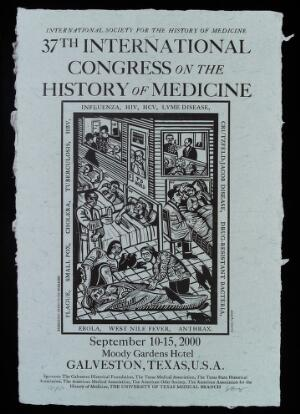 view Newly emerging infectious diseases: patients in hospital. Relief print by Eric Avery, 2000.