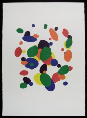 view Reflexology zones on sole of the foot. Colour lithograph by Robert Paul, 1998.
