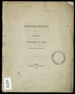 view Book cover, Anti-Cholera Inoculation, Haffkine, 1895